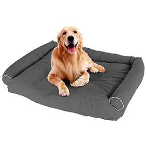 SeaTop Dog Bed for Large Dogs, Self-Warming Washable Pet Bed, Waterproof Bottom for Medium Lage Dogs,Grey