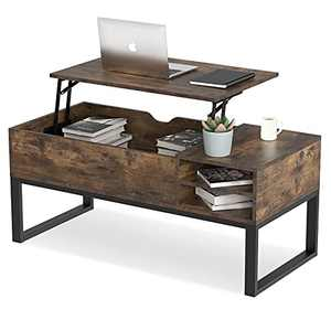 iHomy Lift Top Coffee Table with Storage Wood Square Modern Coffee Table for Home Living Room Office (Rustic Brown)