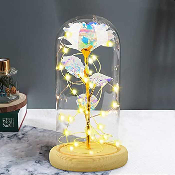 Enchanted Rose Galaxy Rose Flower, Artificial Rose Flower Present Led Light, Forever Rose in Glass Dome, Gift For Wedding Anniversary Valentine's Day Mother's Day Best Friend Birthday