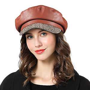 FEMSÉE Baker Boy Hat - Fiddler Cap for Women & Men PU Leather Newsboy Hat Cap (7 3/8-7 1/2, B [Brown+Grey Fabric])