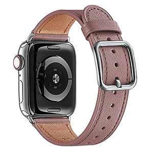 MNBVCXZ Compatible with Apple Watch Band 38mm 40mm 41mm 42mm 44mm 45mm Women Men Girls Boys Genuine Leather Replacement Strap for iWatch Series 7 6 5 4 3 2 1 iWatch SE (Lavender/Silver)