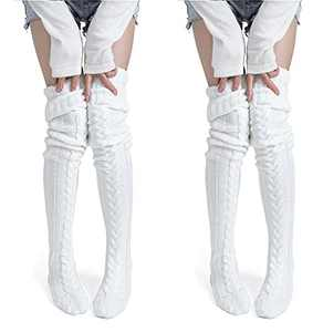 Women's Thigh High Socks Over the Knee Cable Knit Boot Socks, Long Warm Fashion Leg Warmers Winter(White&White)