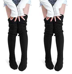 Women's Thigh High Socks Over the Knee Cable Knit Boot Socks, Long Warm Fashion Leg Warmers Winter(Black&Black)