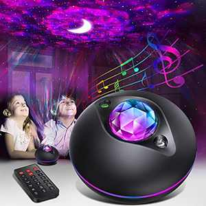 Star Projector Night Light, Galaxy Star Projector Lamp with Color Changing and Timer, LED Star Light Projector with Remote Control, Sound Activated, for Kids Adults Bedroom Christmas Party Decor
