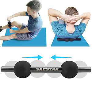 SACSTAR Double Massage Ball, Movable Lacrosse Ball with Stick for Myofascial Release Back Roller Trigger Point Therapy Muscle Relaxer Physical Therapy Peanut Balls