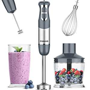 Immersion Hand Blender, FUNAVO 5-in-1 Multi-Function 12 Speed 800W Stainless Steel Handheld Stick Blender with Turbo Mode, 600ml Beaker, 500ml Chopping Bowl, Whisk, Milk Frother Attachments, BPA-Free