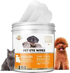 HAPIPET 150 Pads Pet Eye Wipes,Eye Tear Stain Remover Wipes for Cats & Dogs,Eye Crust Treatment for White Fur