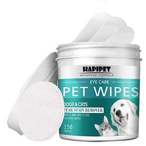 HAPIPET 150 Pads Pet Eye Wipes,Eye Tear Stain Remover Wipes for Cats & Dogs,Eye Crust Treatment for White Fur,Unscented Gentle Pet Tear Wipe