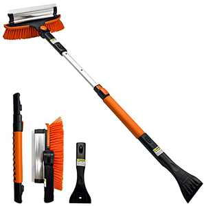 "Tenozek 37.5"" Ice Scraper and Extendable Snow Brush,Windshield Snow Ice Removal Broom with Ergonomic Foam Grip 180° Pivoting Brush Head for Cars, Trucks, SUVs (Orange)"