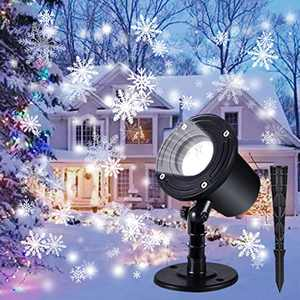 Christmas Projector Lights Outdoor, Indoor Christmas Snowfall LED Lighting Projectors with Waterproof White Snowflake for Xmas,Holiday, Home Birthday,Theme Party and Garden Decorative