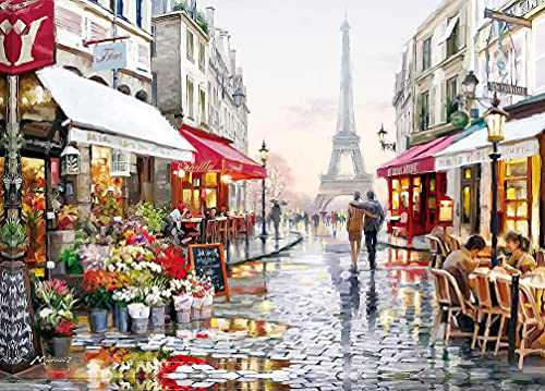 """1000 Piece Puzzles for Adults Kids, Jigsaw Puzzles 1000 Pieces -Paris Flower Street, Education Intellectual Large Puzzle Game Toys Gift(27.56"""" x 19.69"""")"""