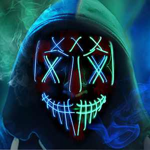Purge Mask Light Up, Halloween Scary LED Glow Cosplay Purge Face Mask with 4 Lighting Modes and Safe El Wire for Kids Adult Women Men, Halloween Costume Neon Mask for Festival Party