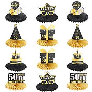 HOVEOX 12 Pieces 50th Birthday Honeycomb Centerpieces Happy 50th Honeycomb Centerpieces Cheers to 50 Years Honeycomb Table Topper 50th Birthday Centerpieces for Tables Decorations