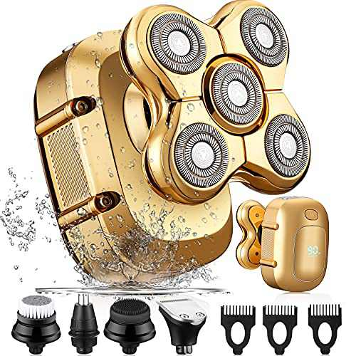 Head Shavers for Bald Men, LNKERCO 5 in 1 Electric Razors for Men with LED Display, Bald Head Shavers for Men, Cordless Freedom Grooming Head Shaver Electric Shavers for Men (Gold)