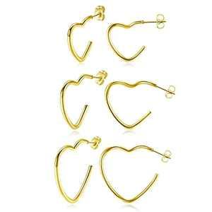 JSDDE 6pcs 20G Heart Open Hoop Earrings Stainless Steel Open Tube Hoop Earring Cartilage Piercing for Women Girls 20, 25, 30mm