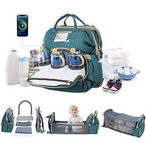 Diaper Bag Backpack, Baby Diaper Bag with Detachable Changing Station for Boy Girl, Dry Wet Pockets Separation, Waterproof Diaper Bag Backpack Ideal for Dad Mom