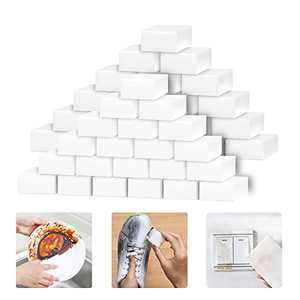 Magic Sponges Eraser for Cleaning, 100Pack Extra Thick Reusable Melamine Foam Sponge Scrubber Cleaning Pads for Kitchen Dishes, Bathtub, Baseboard, Shoes, Wall Cleaner, Durable & Not Easily Rip