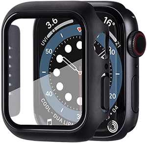 NPYPQ Case Compatible with Built in Tempered Glass Screen Protector ,Overall Protective Hard PC Case Ultra-Thin Cover with Apple Watch Series 6/SE/Series 5/Series 4 (Black) (40mm)