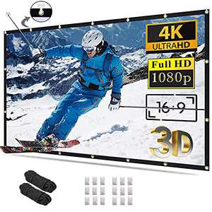 Projector Screen 120 inch 16:9 4K HD Foldable Anti-Crease Portable Projection Movies Screen for Home Theater Outdoor Indoor Support Double Sided Projection