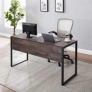 GOOD & GRACIOUS Computer Desk 60 inch Long Home Office Writing Desk, Modern Simple Style PC Desk, Black Metal Frame,Walunt