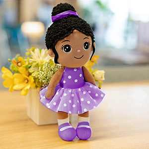 """13"""" Soft Baby Doll Plush Toy, African American Doll Ballerina Doll Dressed in Purple for Girls"""