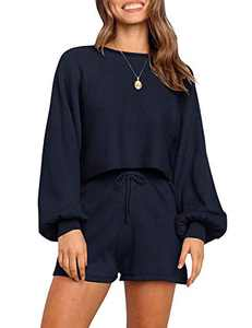 ONMYWAY Women's 2 Piece Outfit Knit Long Sleeve Top and Shorts Pullover Nightwear Lounge Pajama Set with Pockets Navy Blue Medium