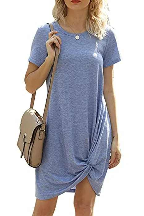 Xikaga Women Summer T Shirt Dresses Casual Oversized Twisted Knot Short Sleeve Beach Loose Midi Dress