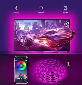 TV LED Backlight 3m TV Led Lights KESHU TV Backlight USB Powered Led TV Backlights Sync with Music Bluetooth App Control Dimmable Led Strip Lights for Bedroom Gaming Bookcase