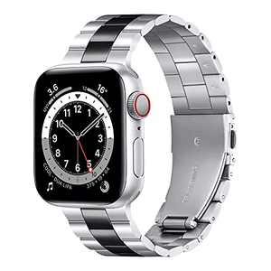Metal Band Compatible with Apple Watch Band 44mm 38mm 40mm 42mm iwatch Bands SE Series 6 5 4 3 2 1, Business Stainless Steel Adjustable Wristband Strap Women Men ,GROGON (Silver/Black, 42mm/44mm)