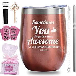 Wine Tumbler Gift Set,12OZ Double Wall Vacuum Cup with Leakproof Lid,Straw, Socks,Silicone Coasters,Stopper,Sometimes You Forget That You're Awesome,Funny Gifts Set for Mom,Sisters,Friends,Girls
