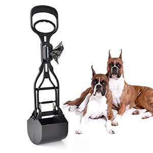 ABESSLON Non-Breakable Long Handle Dog Pooper Scooper with Pet Poop Bags Durable Jaw Clamp Scoop Waste Pick Up Easy to Use for Large Dog or Cats