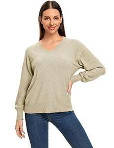 ISOMEI Women's Lightweight V Neck Oversized Tunic Sweater Loose Fit Pullover Knit Top (Beige,X-Large)