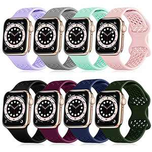 FAKIDOM [8-Pack] Sport Band Compatible with Apple Watch Bands 44mm 42mm 40mm 38mm for Women Men, Breathable Soft Silicone Wristbands, Strap Replacement for iWatch SE/Series 6/5/4/3/2/1(38/40-L)