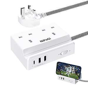 Extension Lead with USB-C Ports,Power Strips With Wall Mount / Phone Holder Function 2 Way Outlets 2 USB Ports Extension Sockets , 1.5M Extension Cord for Home Office Travel