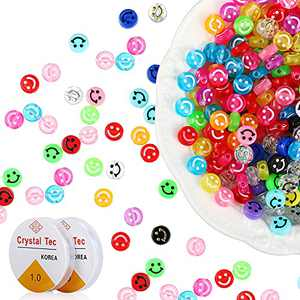 800 Pieces Smile Face Beads Happy Face Beads Colorful Spacer Beads DIY Craft Beads with 12 Meter Crystal Elastic Rope for DIY Jewelry Making Bracelet Earring Necklace Craft Supplies