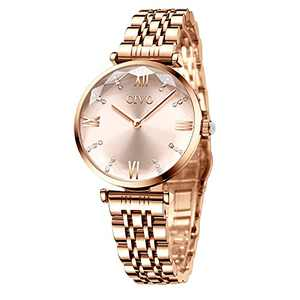 CIVO Watches for Women, Rose Gold Womens Watch, 32mm Ladies Watch, Stainless Steel Metal Women's Wrist Watch, Fashion Elegant Diamond Analog Quartz Watch Gift for Her