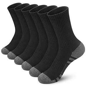 Felicigeely Athletic Socks Women Men Crew Socks Cushion Sports Running Socks Performance Hiking Calf Socks with Arch Support 6 Pairs (Black, 9-12)
