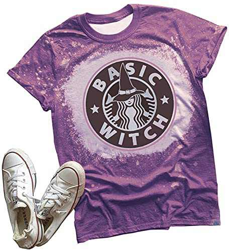Anbech Women Basic Witch Shirt Graphic Tee Summer Funny Letter Casual Cute Short Sleeve Blouse Top (B-Purple, Small)