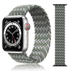 Compatible for Apple Watch Band, Sport Braided Nylon Elastic Solo Loop Strap 38mm 40mm 42mm 44mm, Soft Stretchy Braided Wristband for iwatch Series 1/2/3/4/5/6/SE (Motley-gray, 38mm/40mm-S)