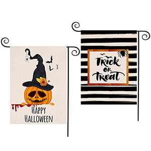 CDLong 2 Pack Halloween Garden Flag Trick or Treat&Happy Halloween Yard Flag Double Sided 12.5 x 18 Inch,Seasonal Rustic Flag Decor for Indoor Outdoor Halloween Decorations