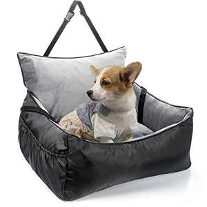 CATROMANCE Dog Car Seats for Small Dogs, Pet Booster Seat for Small Dogs with Clip-On Safety Leash Adjustable Straps and Storage Pocket, Detachable and Washable Puppy Car Bed for Car Travel and Home