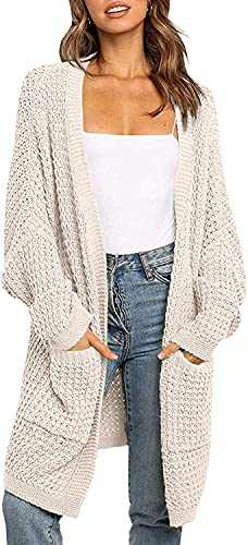 Machico Ladies Kimono Long Batwing Sleeve Open Front Chunky Cable Knit Loose Oversized Cardigan Sweater with Pockets Apricot Size X-Large