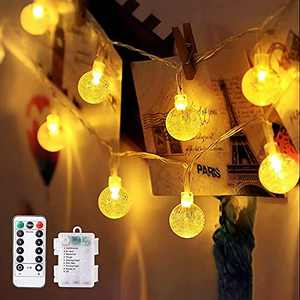 BIUYOY Outdoor String Lights Globe Fairy Lights Battery Operated 33FT 80LED 8 Modes Waterproof with Remote Indoor Outdoor Patio Lights Christmas Lights for Patio Porch Garden Party Wedding Holiday