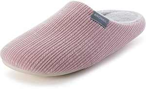 BRONAX Women House Shoes Indoor Ladies Daily Wear Slippers Flat Anti Slip Memory Foam Fur Lining Close Toe Spring Spa Fuzzy Cozy Bedroom Home Shoes Pink