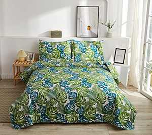 3Pcs Tropical Thick India Blue Green Palm Leaves Quilt Set Coverlet Full/Queen,Beach Themed Jungle Plants Bedspread Bedding Set Lightweight Great for Bedroom Home Decor (Multi,Full/Queen)