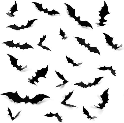 Aonsen 80 PCS Halloween Decorations 3D Scary Bats Wall Stickers for Home Window Decor Art Wall Decals Party Supplie