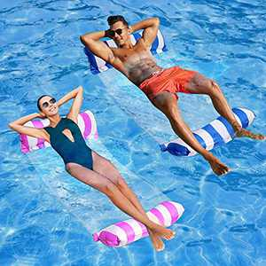 Pool Hammock Floats for Adults 4in1 Multi-Purpose Water Hammock Inflatable Pool Float 2Pack Summer Pool Lounger Chair,Exercise Saddle,Hammock,Indoor&Outdoor Toddler Water Game,Drifter with Air Pump