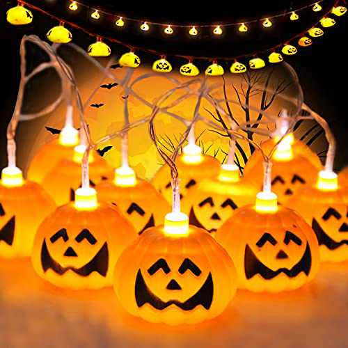 Halloween Pumpkin-Lights Decorations for Outdoor and Indoor,Battery Operated String Lights Hanging Lights Wall Lights,9.8ft and 20 Large Battery Powered Pumpkin Lights.