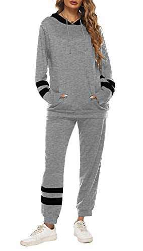 Women's Color Block Long seleeve Tracksuit Sportswear Set Causal Blouse Tee Shirts Dark grey Medium