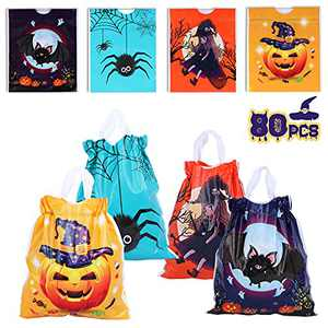 JUOIFIP 80 PCS Halloween Drawstring Candy Bags for Kids Trick or Treat Bags Plastic Goody Bags for Halloween Party Favors